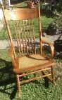 Vintage Furniture Rocking Chairs Old Oak Wooden Chair Turned Spindles Cain Seat