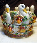 FITZ AND FLOYD 12 TWELVE DAYS CHRISTMAS~2000~6 Geese a Laying Cache Pot/Planter