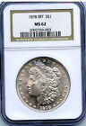 1878 8TF MORGAN SILVER DOLLAR NGC MS62 WHITE TONS OF LUSTER GREAT LOOKING COIN!