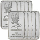 Trademark Bald Eagle 5oz .999 Fine Silver Bars by SilverTowne LOT OF 10 #4832