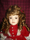Gorgeous Victorian Porcelain Doll Red Velvet Dress Long Brown Curly Hair! L@@K!!