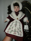 PORCELAIN DOLL WITH  PAIR OF ICE SKATES/WINTERY RED VELVET -16