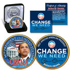 BARACK OBAMA 2-SIDED COLORIZED-JFK GOLD US MINT HALF DOLLAR WITH VELVET GIFT BOX