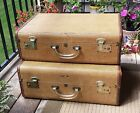 2 Vintage Leather Tweed Lucite Handle Suitcase Luggage Stack Antique US Trunk Co
