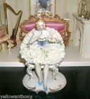 German Dresden Porcelain Lace Seated Ballerina Lady Figurine With Letter
