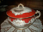 Antique Victorian ORANGE & Gold Vtg Homer Laughlin Porcelain Chamber Pot w/ Lid