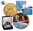 BARACK & MICHELLE OBAMA , KENNEDY  U.S.A 24 KARAT GOLD HALF DOLLAR WITH GIFT BOX