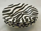 Set of 4 Zebra Pattern Hand painted ceramic shallow bowls black and white