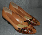 Gerbi Enrico Shoes Heels Tan Leather Dark Brown Snakeskin Made in Italy 8.5 N