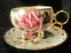 VINTAGE LUSTERWARE FOOTED TEACUP AND RETICALATED SAUCER-ROYAL SEALY-JAPAN