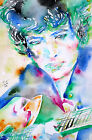 BOB DYLAN playing GUITAR .1-ORIGINAL watercolor PAINTING PORTRAIT! concert live