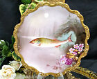 LIMOGES FRANCE PAINTED FISH PLATE THICK GOLD GILT COOL  FLYING FISH
