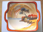 Vintage Square Hand-painted Orange Lusterware Bowl with Handles - Noritake