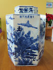 Unique Antique Asian Pottery Signed Ginger Jar 6 Panel Mountain Scene Celadon