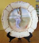 Superb Antique Hand Painted Porcelain Portrait Plate Woman at Creek T