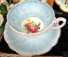 FOLEY TEA CUP AND SAUCER PRETTY BLUE & FLORAL TEACUP & SAUCER