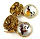 Deakin & Francis 18K Gold Hand Painted Fly Fishing Reel Cufflinks, Circa 1998