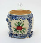 Biscuit Jar Vintage Blue White Japan Pottery Planter Hand Painted 1940's Retro
