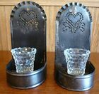 Vintage Tin Sconces 2 Heart Shaped Punched Tin Wall Mount or Stand Prim Decor