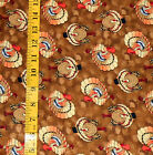 FABRIC - PATTY REED DESIGNS PUMPKIN SPICE TURKEY ACORNS 100% COTTON - 2.46 YARDS