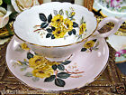 FOLEY HEATHCOTE TEA CUP AND SAUCER PINK WITH YELLOW FLORAL PATTERN TEACUP
