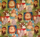 A PATTY REED JUNGLE BABIES ELEPHANT GIRAFFE MONKEY ANIMAL FABRIC BY THE YARD