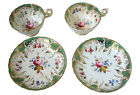 Pair Early 19th Century Green & Gold China Teacup & Saucer - Handpainted Florals