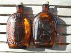 2 Vtg Log Cabin Brown Syrup Bottles 1776 Embossed Eagle Design, Log Cabin