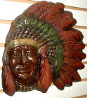 American Indian Native American Style Chief Headdress Wall Plaque Sculpture