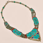 AMAZING TURQUOISE & RED CORAL WITH LAPIS ANTIQUE .925 SILVER NECKLACE