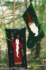 Primitive Pattern Wool Santa Applique Pillow & Stocking  Liberty Rose uncut