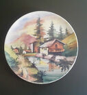 Large Signed Vintage Handpainted Italian Plate with Alpine Scene