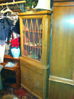 Vintage maple wood corner cabinet Cupboard with doors shelves