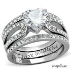 315 Ct Heart Shape CZ Wedding  Engagement Ring 3 Piece Set Womens Size 5 10
