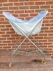 Vtg Shabby Chic Metal Wire Folding Rolling Laundry Cart w/Basket Liner