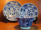 3 Antique Staffordshire Historical Blue Clews Cup & Saucer Bowls