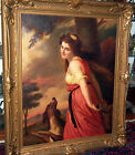 BEAUTIFUL GIRL & DOG IN FOREST C 1800 LARGE MUSEUM PIECE PAINTING ,63