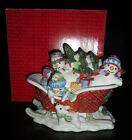 Fitz & Floyd The Flurries Lidded Box Sleigh Dish Christmas Snowman