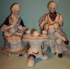 3- piece Dresden Style Porcelain Figurines Victorian Couple Having Tea-Deville
