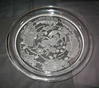 Vintage circa 1956 signed Lalique France GIGANTIC Berbere Round Tray-VERY HEAVY