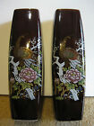 Pair Vintage Japanese Vases Brown Glaze Gilt Peacock Prunus Florals Signed
