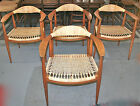 DANISH MODERN OAK & WICKER HANS WEGNER DESIGN PRESIDENTIAL CHAIRS X4 TEAK