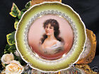 CARLSBAD LADIES PORTRAIT PLATE PAINTED DESIGN OVER A TRANSFERWARE AUSTRIA
