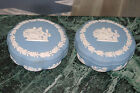 2 Large Vintage Wedgwood Jasperware Blue Trinket Box Pot Scallop Shape Classical