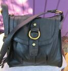 Great American Leatherworks Black Pebbled Leather Organizer Crossbody Bag