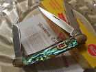 Kissing Crane Limited Genuine Abalone Stockman 3 Blade Pocket Knife 3 1/2