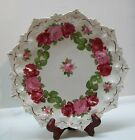 Vintage Austria Plate with Dark and Light Pink Roses Pointed Edge Gold Accents