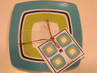 Set of 8 - 222 Fifth Oceana Stripes  Appetizer Snack Plates  NEW