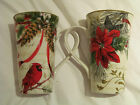 222 Fifth - Holiday Wishes  -Set of 2  Latte / Coffee Mugs  NEW