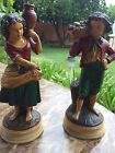 BORGHESE CHALKWARE FIGURINES STATUES ANTIQUES VINTAGE PAIR COUPLE